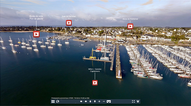 Aerial virtual tour of La Trinité-Sur-Mer Harbor