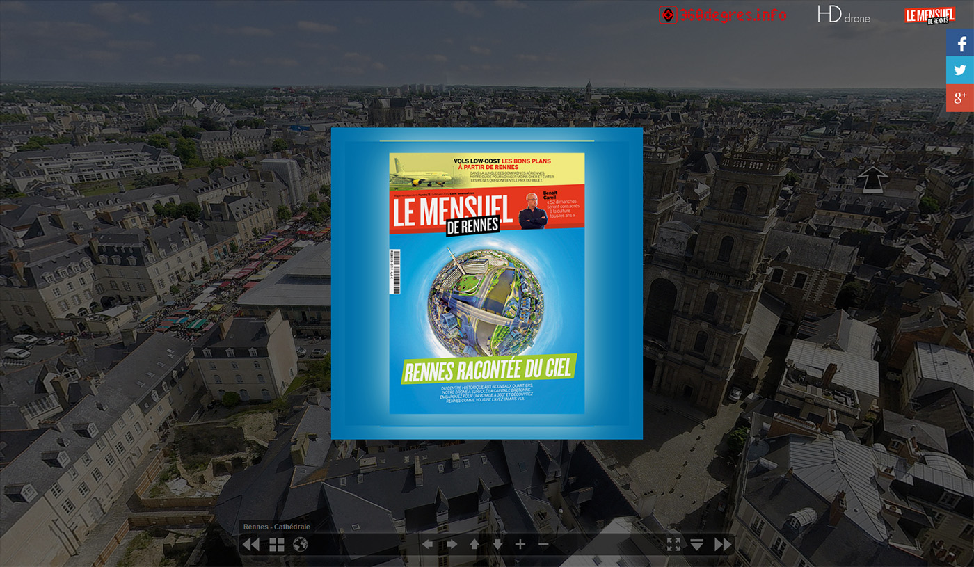 Aerial virtual tour : Rennes seen from the sky
